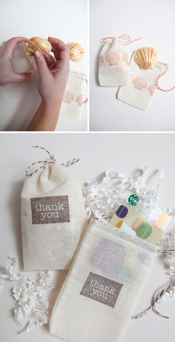 DIY | hand-stamped muslin favor bags » Something Turquoise {daily bridal inspiration}