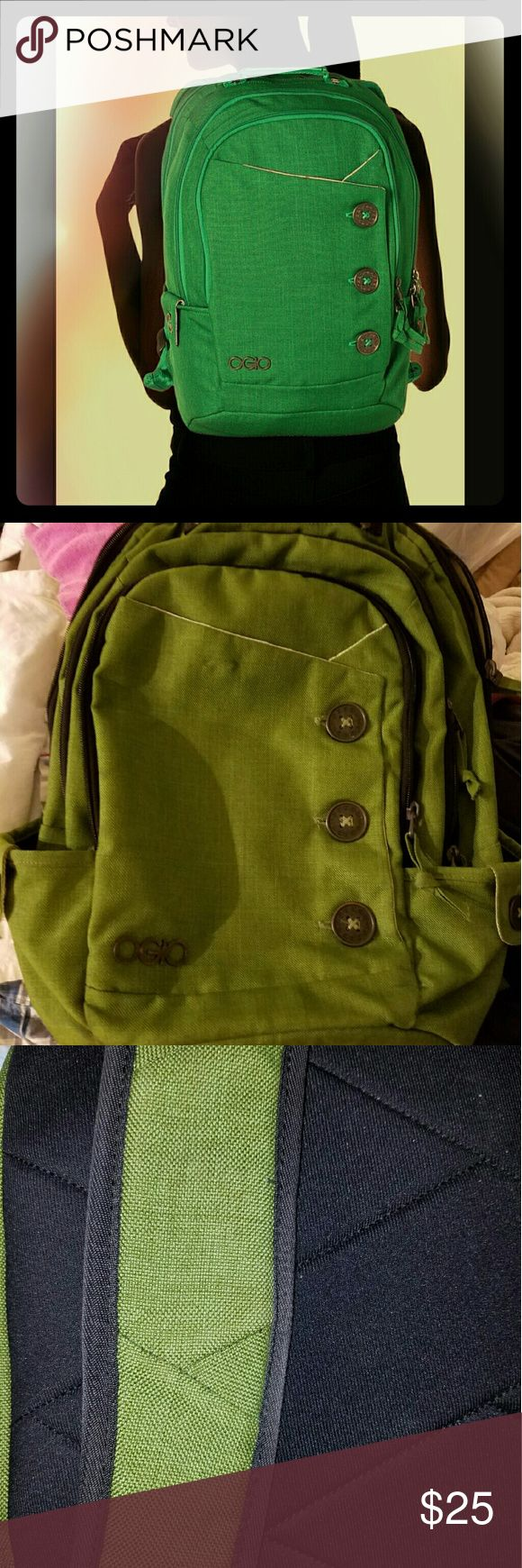 Ogio soho laptop backpack army green Overall guc interior has some discoloration due to use, does not affect use our exterior one spot on bottom pictured last picture. Third picture closest to actual color. ogio Bags Backpacks