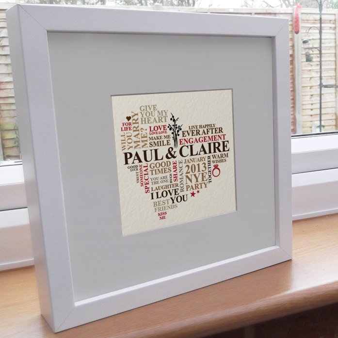 Personalised Word Art. Engagement gift. Bespoke printable wall hanging picture. Romantic love present modern unique typography.. £10.00, via Etsy.