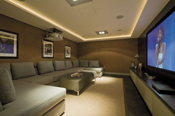 Greay Style Home Theater Design Inpiration With Super Size Sofa Clean And Simple