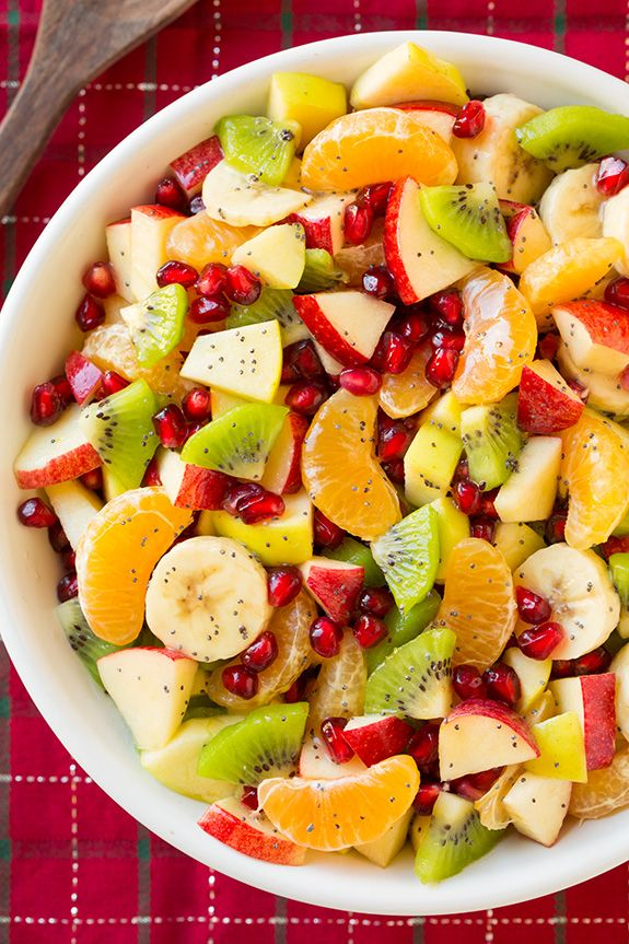 Winter Fruit Salad with Lemon Poppy Seed Dressing | Cooking Classy....we subbed pears for kiwi.