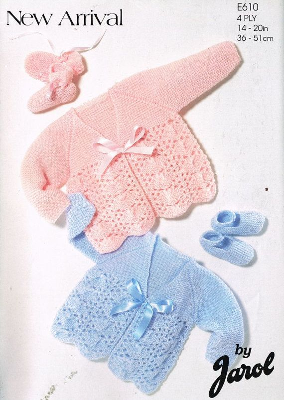 Jarol 610    baby matinee coat    vintage knitting pattern    14 - 20 inch chest size    4 ply wool