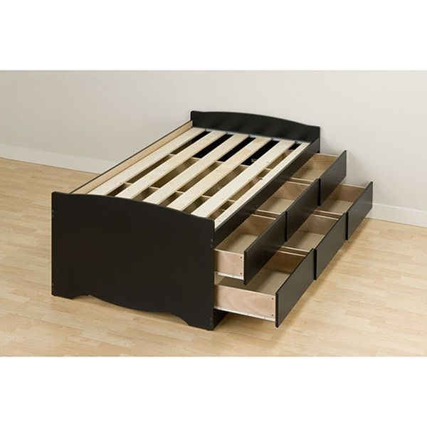 This six-drawer storage bed maximizes space and is great for small rooms. The six 18-inch-deep drawers on this twin storage bed allow ample room for storage for bedding or clothing. Designed to accomm