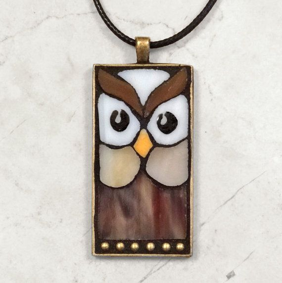 Stained glass mosaic owl pendant handmade by ShellyHeissDesigns