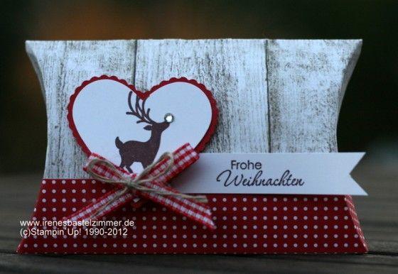 Geschenkverpakcungen: Winter Post + Spellbinders Herzen Pillow Box-Kissenschachtel-Stampin`Up!-Joyous Celebrations-Stanzer Herz-Big Shot-Embosslit