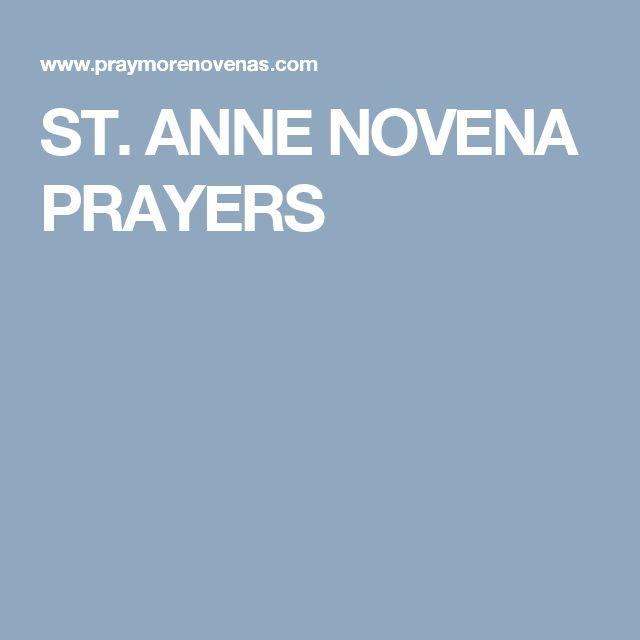 ST. ANNE NOVENA PRAYERS