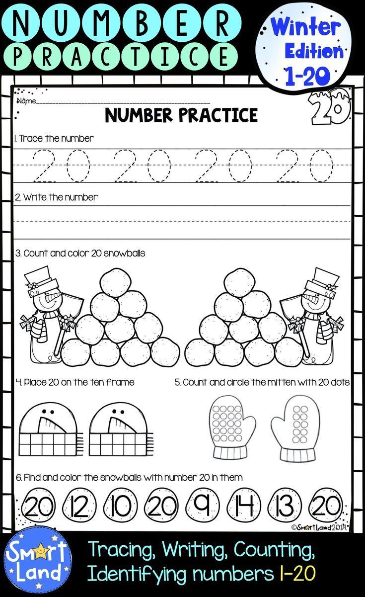 Numbers 1 20 Handwriting And Counting Winter Edition Preschool Math Worksheets Teaching 6th Grade Kindergarten Math Worksheets [ 1201 x 735 Pixel ]
