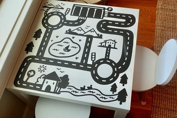 Monochrome Decal, Kids Car Track Decal, Kids decor, IKEA Lack table decal