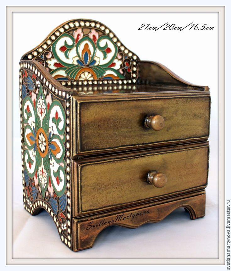 """Купить Мини-комодик """"Русские эмали"""" - лаковая роспись, перегородчатая эмаль, имитация эмали, для драгоценностей"""
