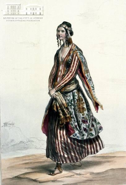 A.J. DEVERIA (1800-1857) (painter) & LEMERCIER (engraver) Womans attire from Smyrna