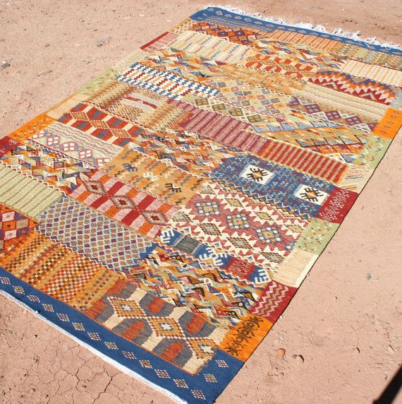 Patchwork Rug Made Of Lambswool 5x8 Ft Kilim In Design Carpet