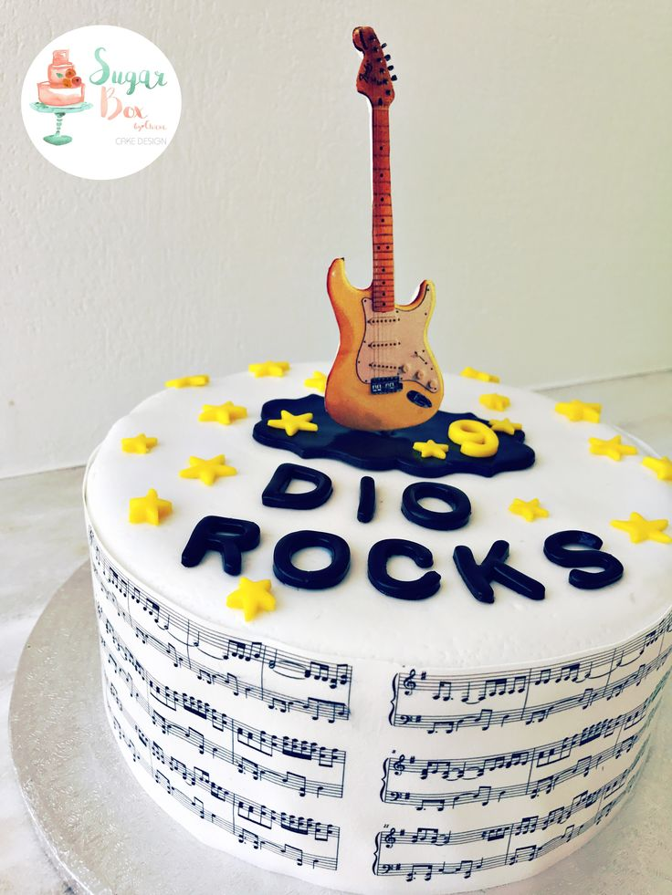 Guitar Music Rock and Roll Birthday Cake