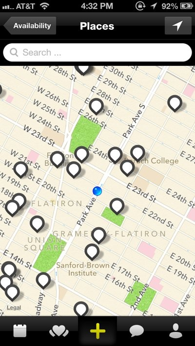 A map will pop up, littered with potential places near you.