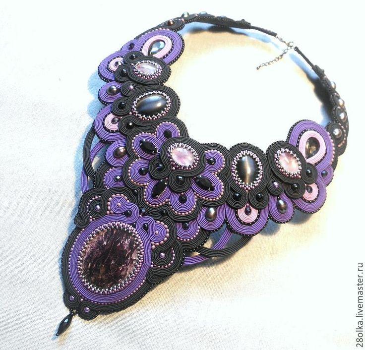 Колье сутажное Violet - фиолетовый,колье,колье с камнями,колье ручной работы