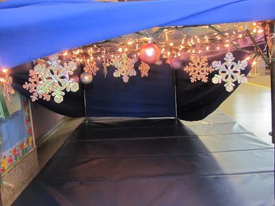 Taking homemade tents to the next level. Winter Wonderland relaxation station created for a special needs classroom.