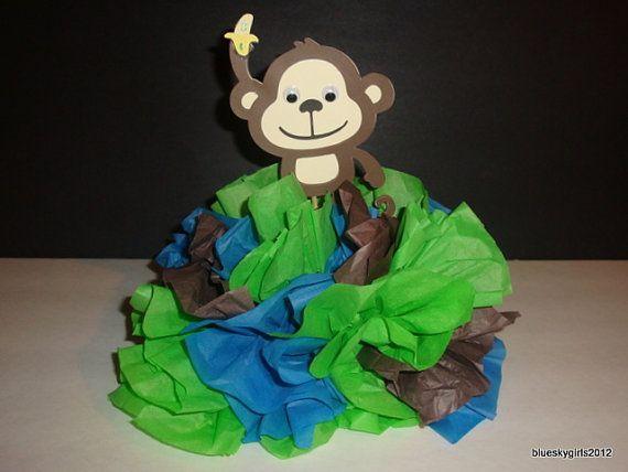 Monkey centerpiece 1st birthday