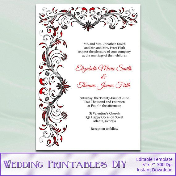 47 best Wedding Templates images on Pinterest Wedding stationery - invitation download template