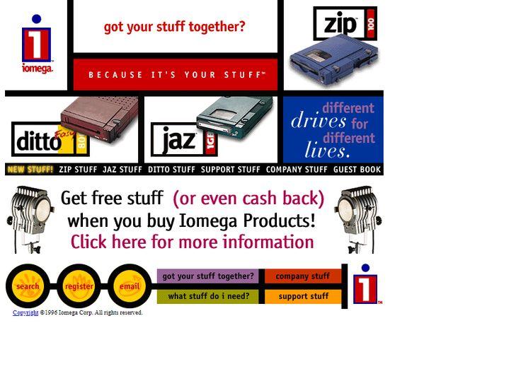 iomega website in 1996