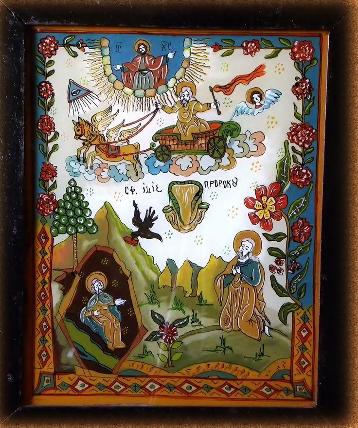 Icoana pe sticla  -  Sfantul Prooroc Ilie  - autor: Florian Colea - Targoviste, Romania