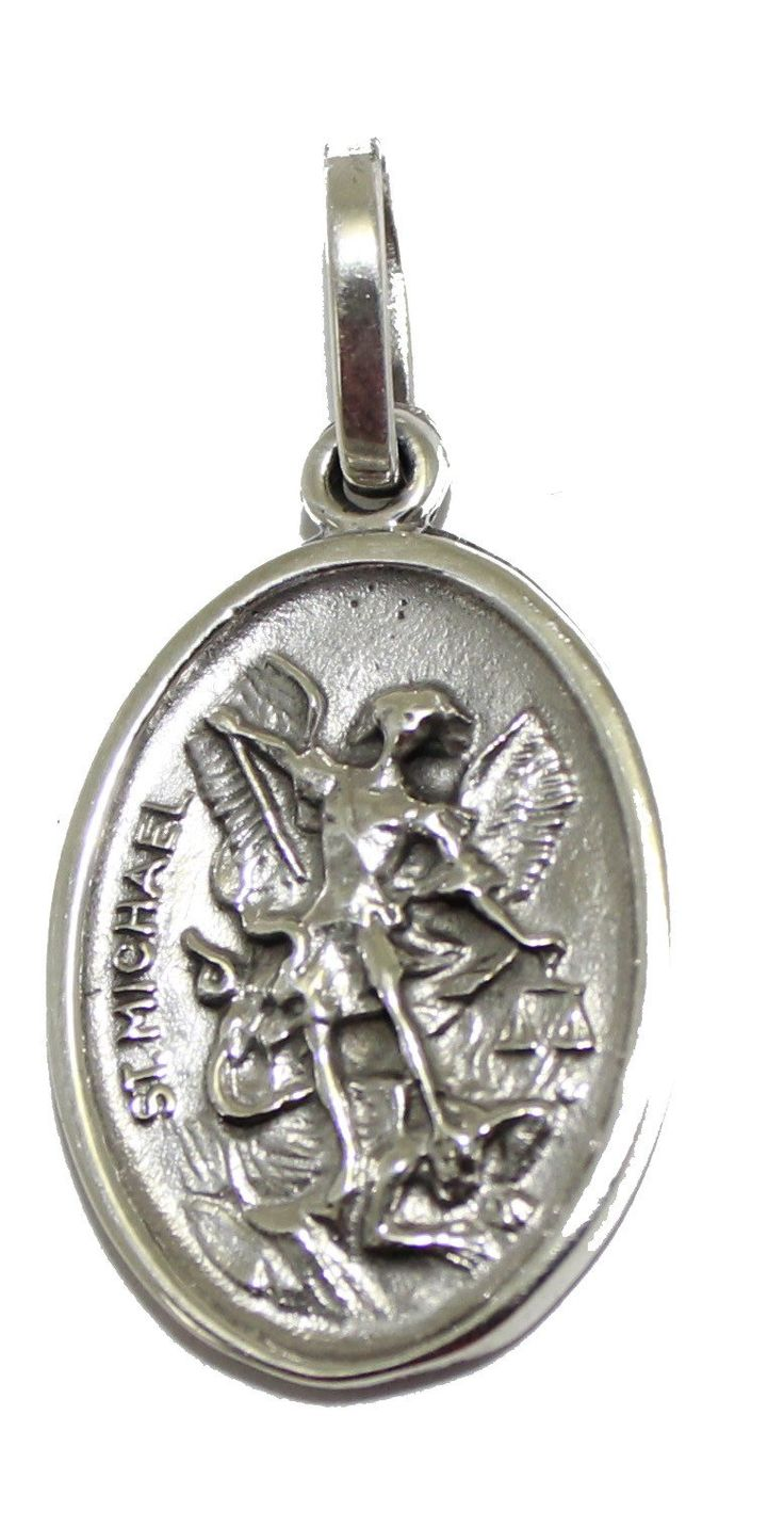 San Miguel Arcangel .925 Sterling Silver Medal Pendant Medalla - St. Michael Archangel and Guardian Angel Medal Two Sided