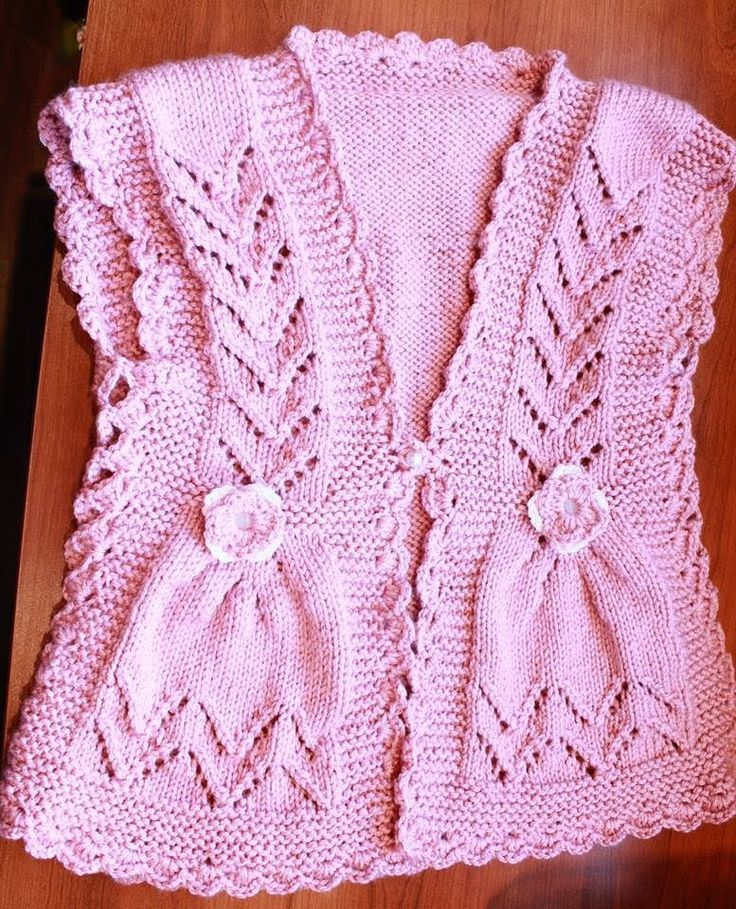 How to Knit Integrated Vandyke Lace Vest with flowers on the front and c...