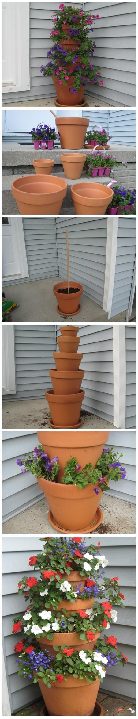 Terra Cotta Pot Flower Tower with Annuals. This would be great for herbs or strawberries too!