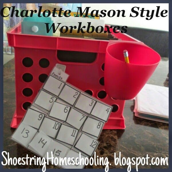 Charlotte Mason Style Workbox System used with Ambleside Online Curriculum.
