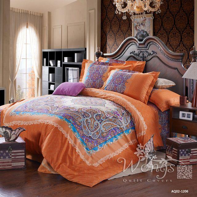Beddengoed Set Volledige Queen Nieuwe 100% Katoen Linnen Overtrek Kussenslopen Thuis Textiel Oranje & Roze Paisley Dekbed Covers