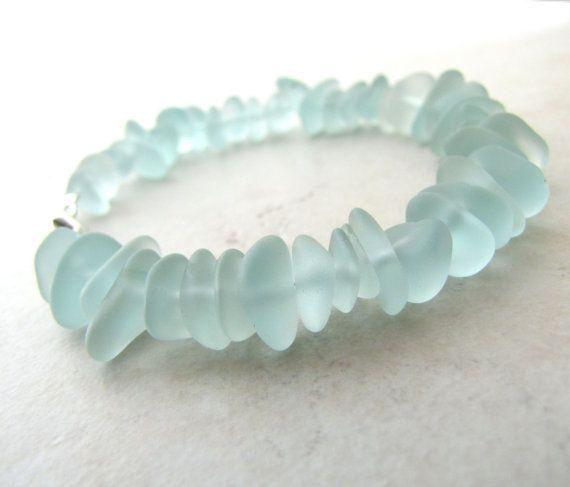 Seaglass Sea Glass Bracelet Aqua Sea Foam Small  by LunasLuxe