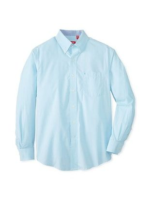 55% OFF IZOD Men's Long Sleeve Essential Solid Woven Shirt (Maui Blue)