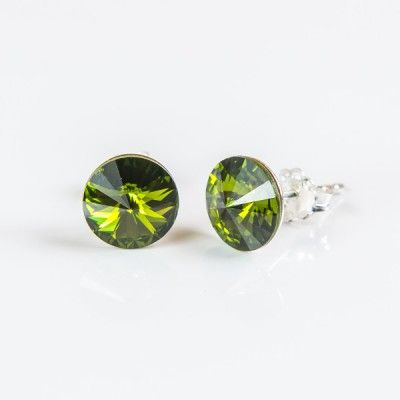 Swarovski Rivoli Earrings 8mm Olivine  Dimensions: length:1,5cm stone size: 8mm Weight ~ 1,15g ( 1 pair ) Metal : sterling silver ( AG-925) Stones: Swarovski Elements 1122 SS39 ( 1122 8mm ) Colour: Olivine 1 package = 1 pair Price 9.90 PLN( about`2,5 EUR)