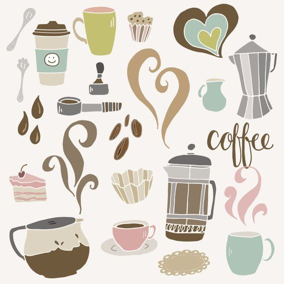 Clip Art Cute Coffee Set Cafe Shop French Press Espresso