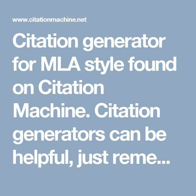 mla style citation machine