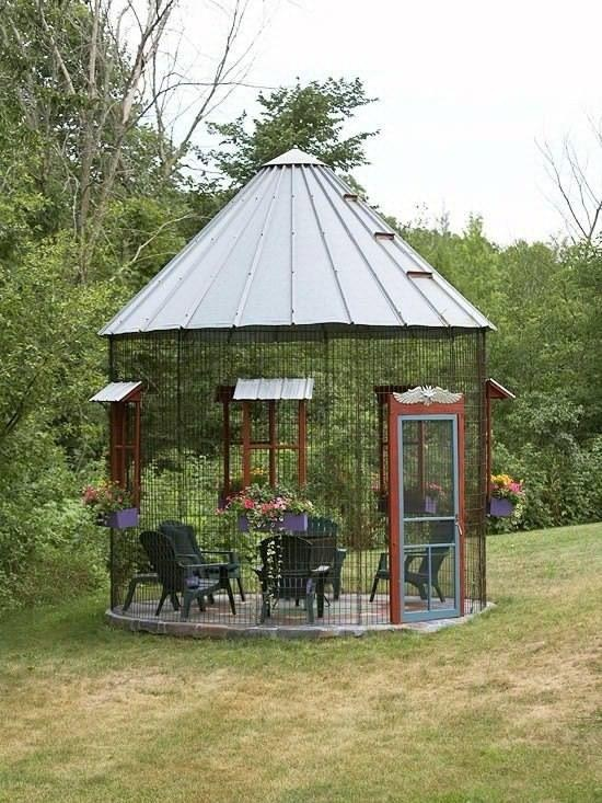 Screened Gazebo Using A Grain Bin Top Outdoor