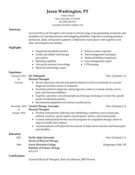 physical therapist perfect resumeresume examplesphysical therapist
