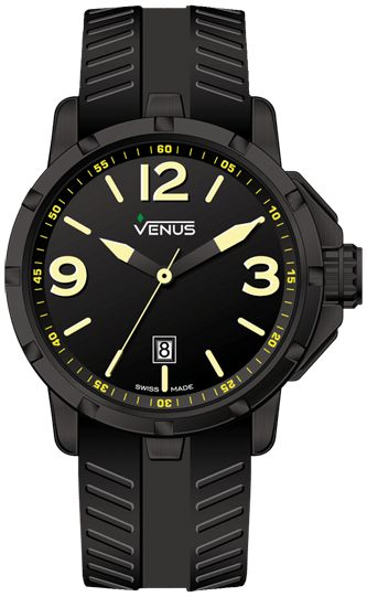 Matt black with yellow super luminous Arabic numerals and indexes Strap: Anti-allergic black rubber Buckle: black PVD coating on 316L stainless steel, folding clasp