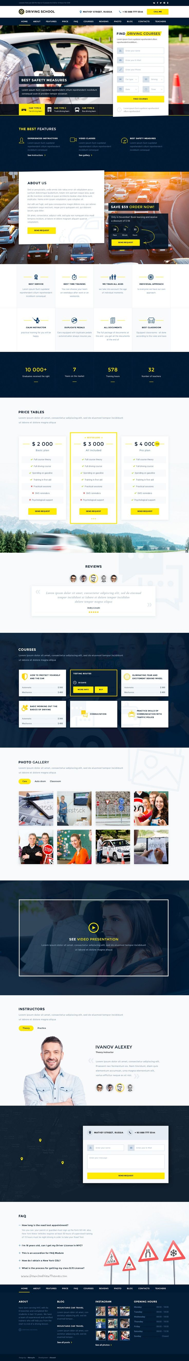 Driving school is perfect premium #PSD template for #driving #schools website with 3 landing page and 54 organized PSD pages download now➯ https://themeforest.net/item/driving-school-54-responsive-psd-templates/16986363?ref=Datasata
