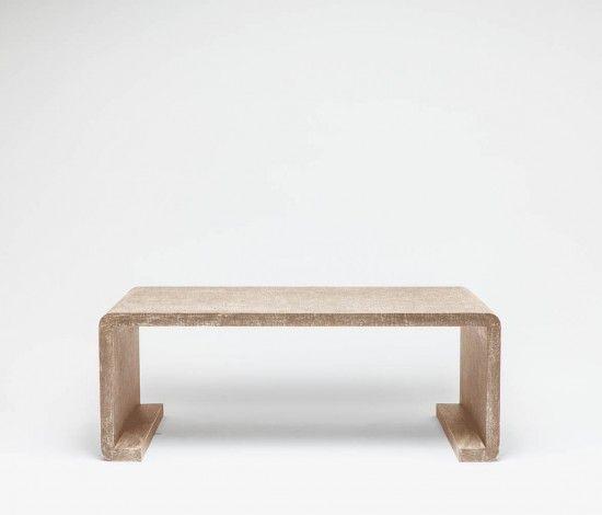 gustav waterfall coffee table, faux waxed linen, warm silver or charcoal,  48