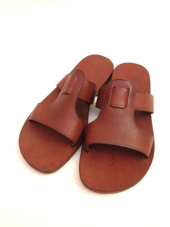 CUBIDO: 2 Straps T Bar Leather Slide Handmade by BODRUMSANDALS