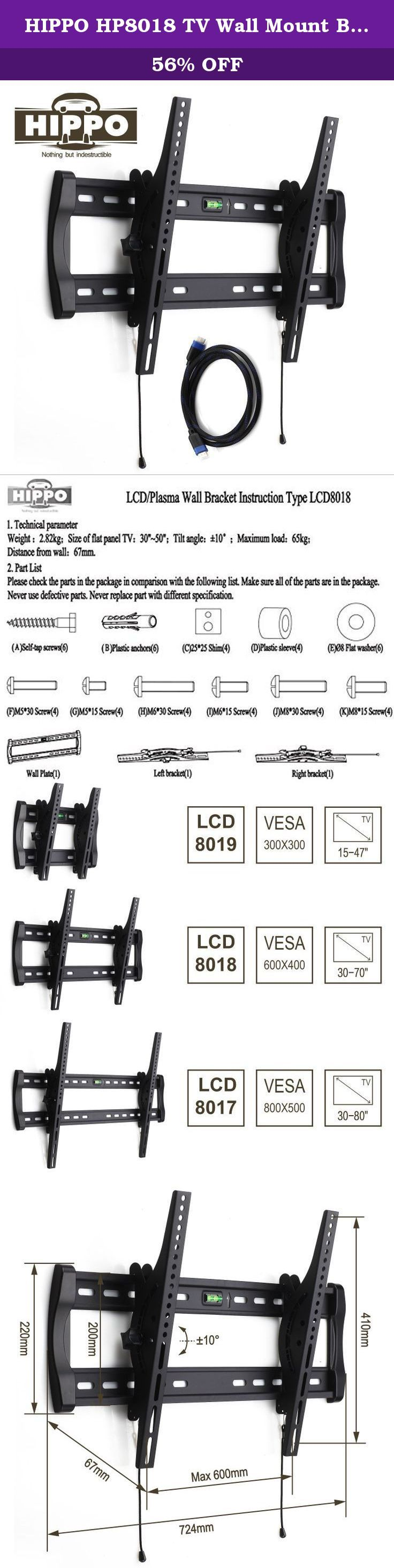 "HIPPO HP8018 TV Wall Mount Bracket for Most 42""- 70"" LED LCD Plasma Flat Screen TVs weighing up to 132 Lbs, VESA up to 600x400 mm, ±10 Degree Tilt , Quick Release, Security Lock, 5 ft HDMI Cable. The Hippo HP8018 mount is an innovation mounting solution for most 42"" - 70"" flat screen monitors, (Please check VESA and Weight). The HP8018 fits essentially all 32""-65"" TVs sold today. This mount works with many displays 30"" - 70"" as well. Specifically, the HP8018 fits TVs with mounting holes…"
