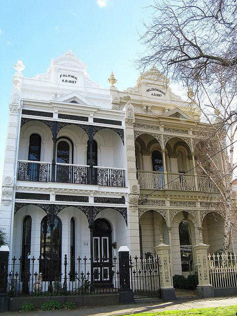 These immaculately restored and richly detailed twin Victorian Filigree terrace houses - Falkirk and Helensburgh - were completed in 1887 and are a highlight of South Melbourne's Nelson Road. The detail in the parapets and iron lace work is immaculate.
