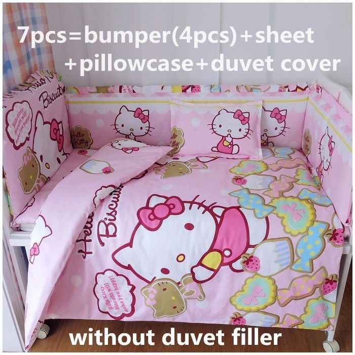 39.80$  Watch now - http://alisls.shopchina.info/go.php?t=32514350968 - Discount! 6/7pcs Hello Kitty Baby Bed Crib New Arrivals!!!Baby bedding sets Bed set in the cot Set ,120*60/120*70cm  #buyonlinewebsite