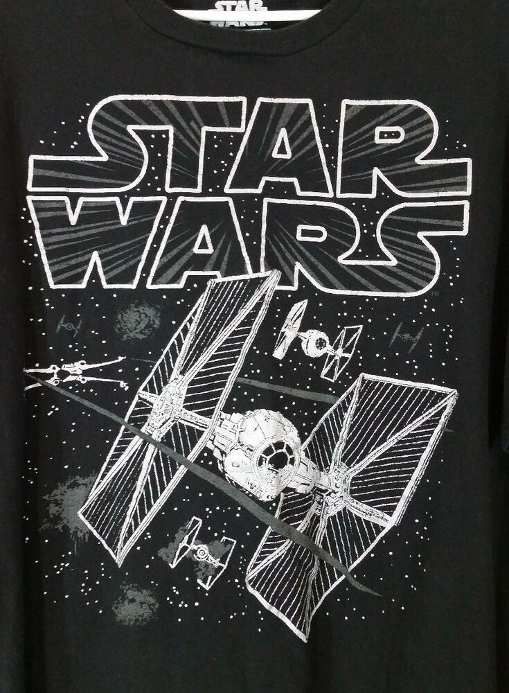 93eb4c35 Star Wars Mens T-Shirt XXL 2X Tie Fighters Black Silver 100% Cotton Tee