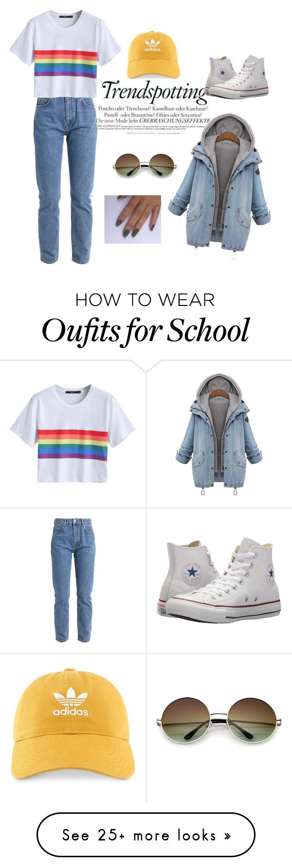 """Retro School"" by inzlee on Polyvore featuring Converse and adidas"