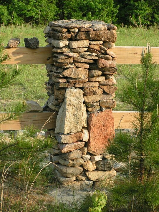 Stone Column And Wood Rail Fence Close Up View Fence And