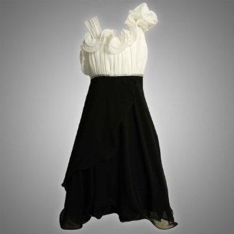 Bonnie jean tween girls 7 16 black white asymmetric ruffle for Wedding dresses for tweens