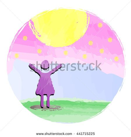 Girl enjoys the sun, day and her life. Free woman raising arms to sky - watercolor image.