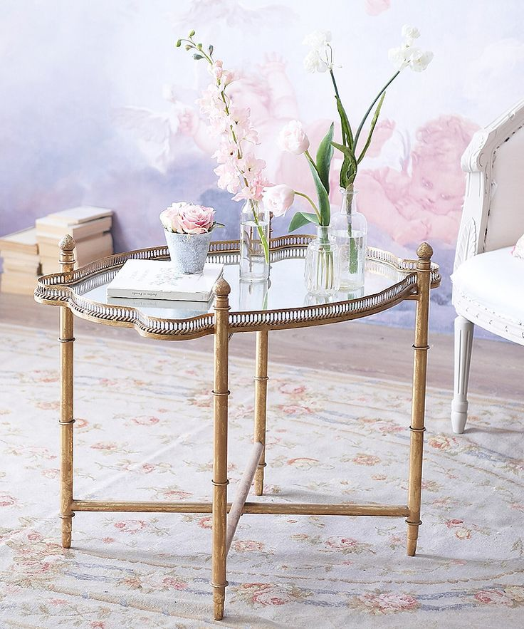 Pretty Vintage Style Metal Tray Table With Antiqued Gilt Bamboo Effect  Stand And Distressed Mirror Top Removable Tray With Folding Stand 74l X 54w  X ...