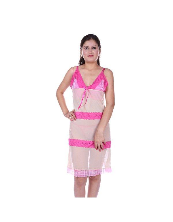 Gwyn Designer Netted Beige with Thong Panty Babydoll Nightwear
