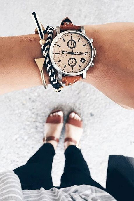 It's not an arm party without the Original​ boyfriend watch and layers of rose gold and silver bracelets. via @gracefuls